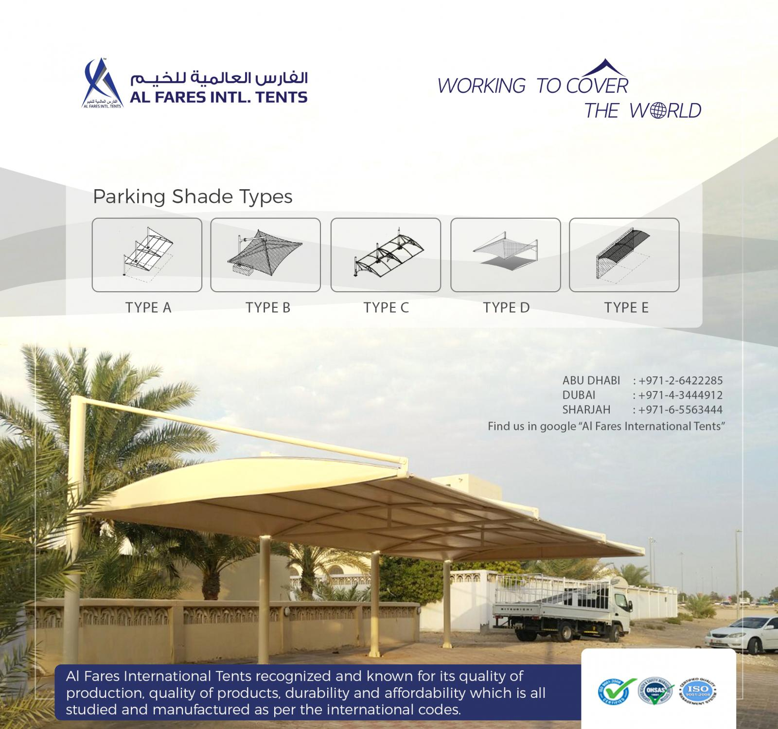 Parking shades & Tensile shades | Al Fares International Tents